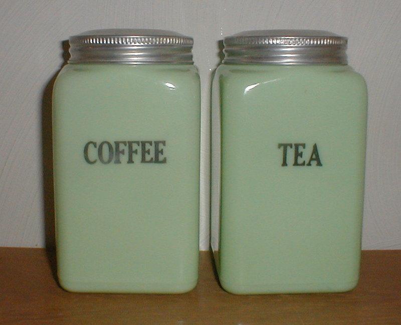 McKee Jadeite 28 oz. COFFEE & TEA Canisters