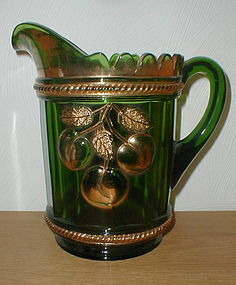 Northwood Peach Water Pitcher, gold on green