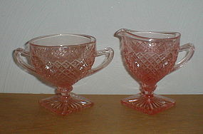 Pink Miss America footed Creamer & Sugar