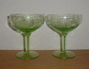 "Green PARROT 4 1/4"" Sherbets"