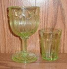Green Colonial (Knife & Fork) Goblet and Juice