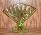 Green Depression Fan Vase
