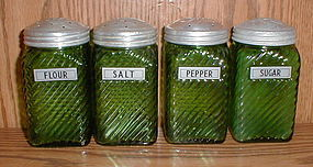 Owens Illinois Forest Green Shaker Set