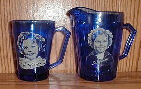 Cobalt SHIRLEY TEMPLE Pitchers & Mug