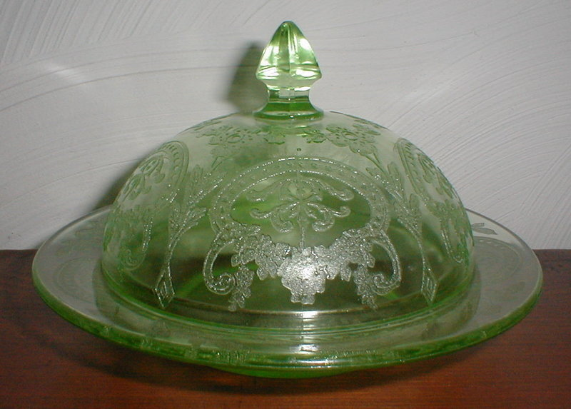 Green HORSESHOE Butter Dish (# 612)