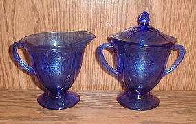 Cobalt ROYAL LACE Creamer, Sugar & Lid