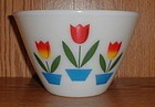 "Fire King TULIPS Mixing Bowls 7 5/8"" & 9 1/2"""