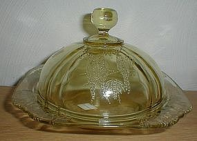 Amber PARROT Butter Dish VERY RARE
