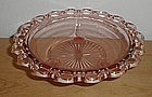 """Pink OLD COLONY Lace Edge 3 Legged 10 1/2"""" Bowl"""