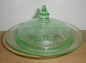 Green Strawberry Butter Dish - US Glass