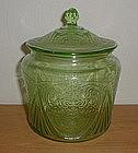 Green ROYAL LACE Cookie Jar & Lid