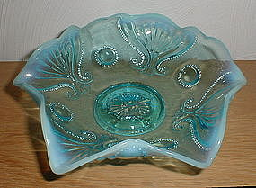 "Blue Opalescent JEWEL & FAN 8"" Bowl"