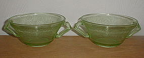 Green FLORENTINE #2 Cream Soup Bowls