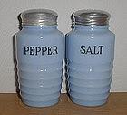 Jeannette Ribbed Delphite Salt & Pepper Shakers