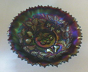 "Northwood 3 Fruits 9"" amethyst Bowl"