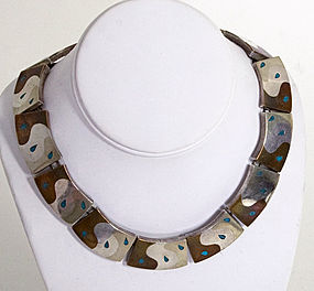 Silver, Copper and Turquoise Necklace