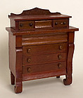 Miniature Empire Chest of Drawers: Ca. 1860; Pa.