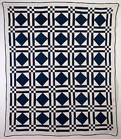 Diamonds in Squares Quilt: Circa 1880