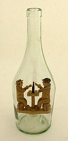 Articulated Wood Card Players in a Bottle