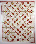 Starflower Applique Quilt: Circa 1870