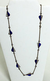 Silver and Enamel Modernist Necklace