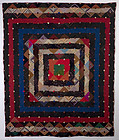 Barnraising Log Cabin Quilt on Square: Ca. 1880; Pa.