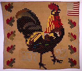 Rooster Quilt: Circa 1898; Pennsylvania origin