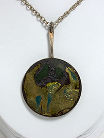 Modernist Silver and Enamel Pendant