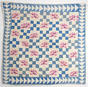 Nine Patch Crib Quilt/Wild Goose Chase: Ca.1920;Pa.