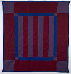 Lancaster County Amish Bars Quilt: Circa 1915