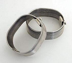 Sterling Silver Ribbed Bracelets