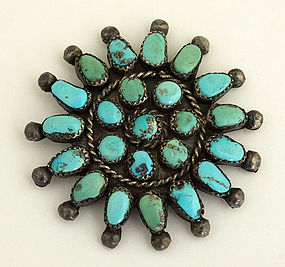 Native American Brooch with Turquoise