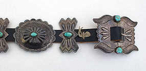 Native American Silver & Turquoise Concha Belt