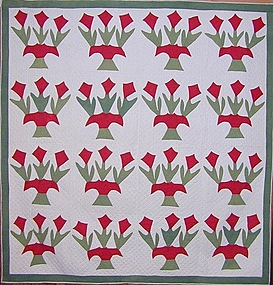 Pots of Tulips Quilt; Circa 1880; Penn.