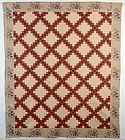 Irish Chain Quilt with Glazed Chintz Border: Circa 1850