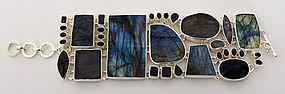 Silver Bracelet with Labradorite and Iolite