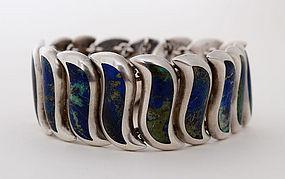 Los Castillo Silver and Azure Malachite Bracelet