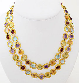 Long Gold Chain Necklace with Semiprecious Stones