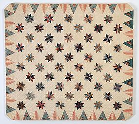 LeMoyne Stars Crib Quilt: Circa 1830; New York State