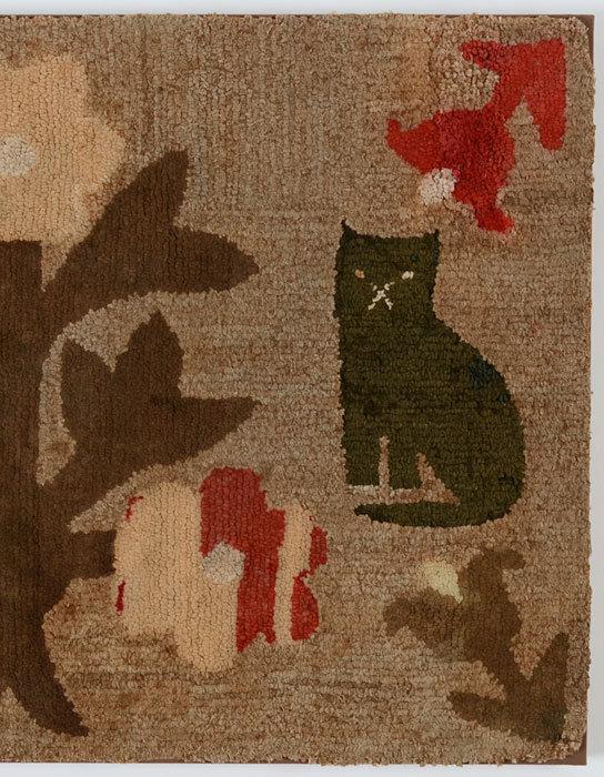 Cats Hooked Rug; Circa 1890; Pennsylvania