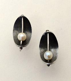 Ed Wiener Sterling and Pearl Earrings: circa 1950