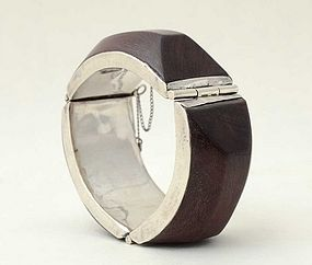 Wood and Silver Bangle Bracelet