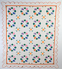Morning Glory and Monkey Wrench Quilt: Circa 1930; Pa.