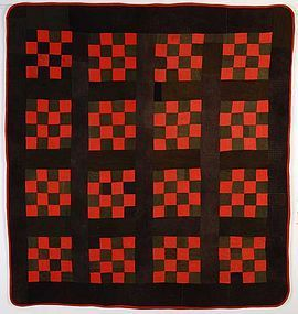 Sixteen Patch Wool Quilt: Circa 1890; Pa.