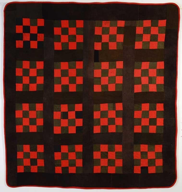 Sixteen Patch Wool Quilt: Circa 1890; Pa.