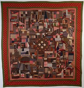 Cotton Crazy Quilt: Circa 1889; Pennsylvania