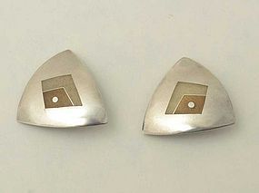 Silver and Enamel Earrings by Helen Hosking