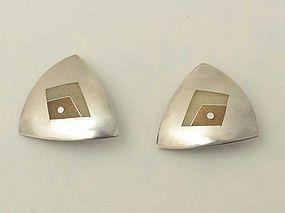 Silver and Enamel Earrings by Helen Hosking