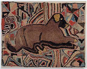 Recumbent Dog Hooked Rug: Circa 1890; Pa.