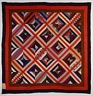 Wool Kaleidoscope Quilt: Circa 1890; Pa.